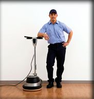 Man with floor buffer